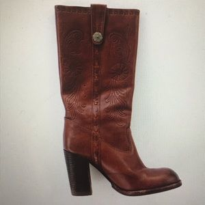 NWT Aldo Brown Tooled Leather Boots Size 39